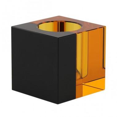 Candle holder - tea light - black/amber