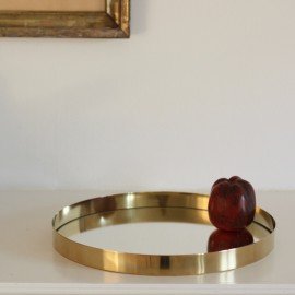 Brass tray with mirror bottom