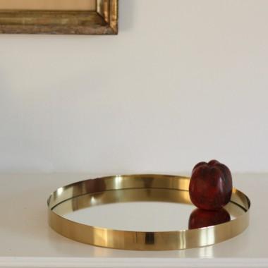Brass tray with mirror bottom