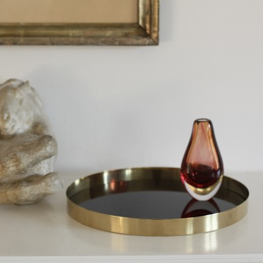 Brass tray / black glass