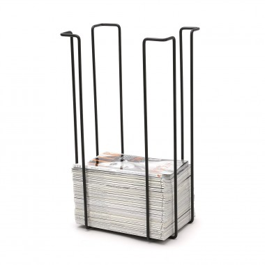 Tall magazine rack, black