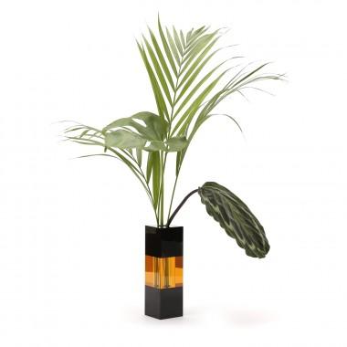 Vase black/amber/sort