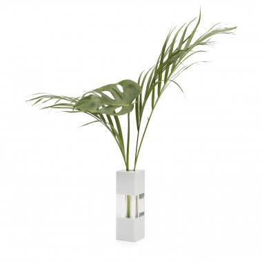 Vase white/clear/white