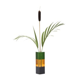 Vase black/amber/green